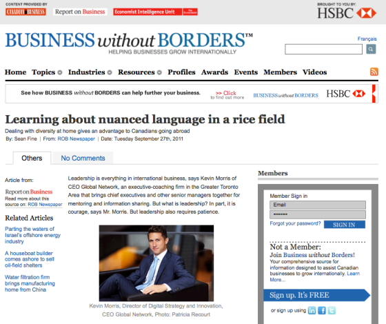 Kevin Morris Business Without Borders Globe and Mail